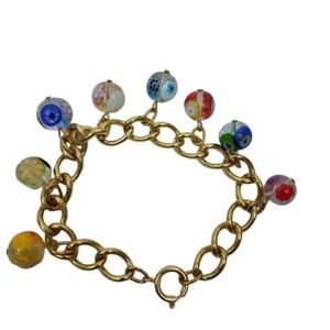 ~ Marble Glass Beaded Bracelet Chain Gold To